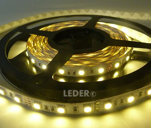 12v LED STRIP LIGHTS in WARM WHITE - 5 METRE LED STRIPS / 300 LED's + 12v POWER SUPPLY ** LED TAPE / RIBBON IDEAL FOR MOOD LIGHTING, KITCHENS, UNDER CABINET LIGHTING, ETC ** SUPER BRIGHT 5050 LED's - THREE TIMES AS BRIGHT AS REGULAR 3528 LED STRIP LIGHT!!