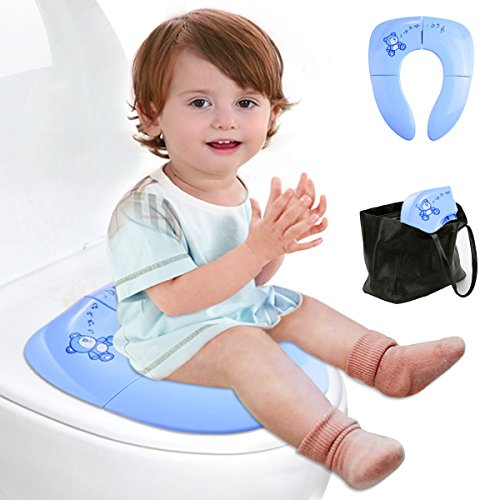 Lightweight Folding Travel Potty Seat for Kid with Carry Bag, Portable Toddlers Potty Seat by Iserlohn, Blue (Portable Toddler Seat compare prices)