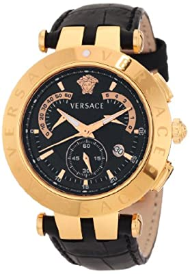 "Versace Men's 23C80D008 S009 ""V-Race"" 18k Rose Gold-Plated Stainless Steel and Black Leather Watch"