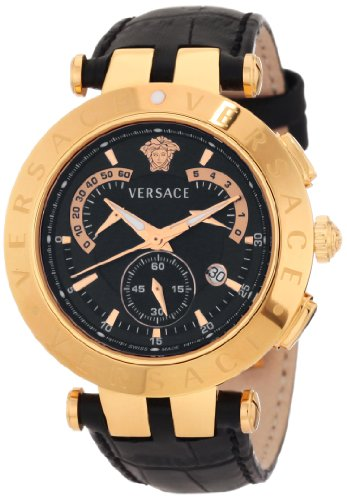 Versace Men's 23C80D008 S009 V-Race Chrono Black-dial Rose-Gold Plated Genuine Leather Watch