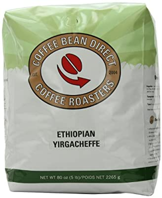 Coffee Bean Direct Ethiopian Yirgacheffe, Whole Bean Coffee, 5-Pound Bag