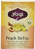 Yogi Peach DeTox, Herbal Tea Supplement, 16-Count Tea Bags (Pack of 6)