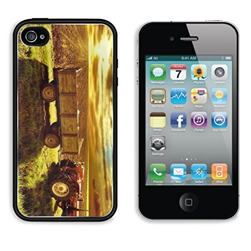 Landscape Country Tractor Cornfield Sky Sunset Punktail'S Collections Iphone 4/4S Cover Premium Aluminium Design Tpu Case Open Ports Customized Made To Order