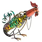 Deco Flair Rooster Figurine Metal Wine Bottle Holder