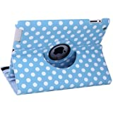 HDE 360 Rotating Stand Leather Case For Apple iPad 2 3 4 - Includes Capacitive Stylus and Screen Protector (Blue Polka Dot)
