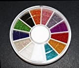 12 Colors Mini Ball Beads NAIL ART 3D Decoration In Wheel with Bonus Sample