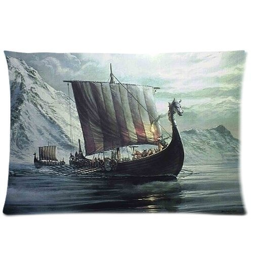 Vintage Viking Dragon Head Ship Background Comfortable Cotton&Polyester Pillowcase/Pillow slip/Cushion case/pillow cover(Two Side Printing,30inch*20inch)