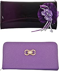 Yazlyn Collection Fancy Clutch Synthetic Purse Dark Purple and Purple Color Wallet for Women- Pack of 2