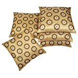 Beige Small Round Floral Embroidered Cushion Covers Set Of 5 (40X40 Cms)