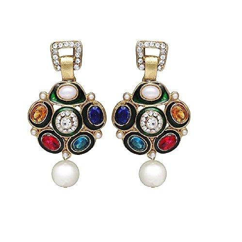 Zaveri Pearls Non-Precious Metal Multicolor Dangle & Drop Earrings For Women's