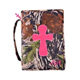 Mainstreet Camo Pink Camoflauge Print Bible Cover Case with Embroidered Cross and Cross Zipper Pull Detail