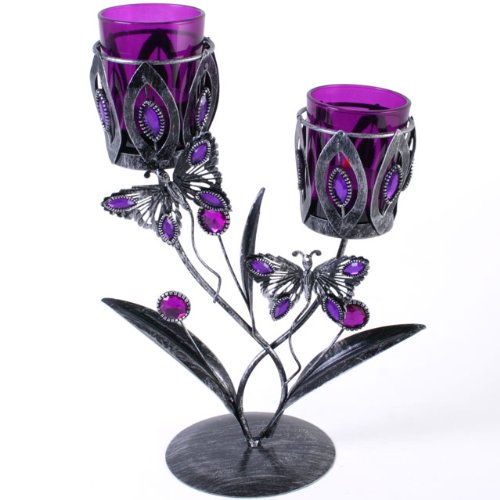 Attractive Gothic Style Silvery Black Metal Double Butterfly Tealight Candle Holder With Purple Coloured Glass Holders on Stand. Approx 24cm Tall.