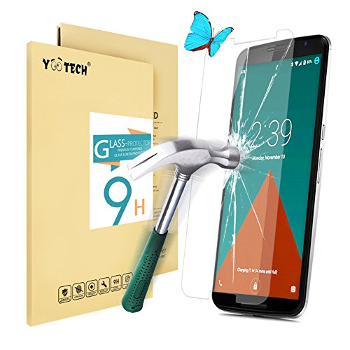 Nexus 6 Screen Protector,Yootech® Premium Motorola Google Nexus 6 Tempered Glass Screen Protector (2.5D 9H Hardness, Superslim 0.26mm) – The Best Nexus 6 Screen Protector To Guard Against Scratches and Drops – Ultra HD Clear With Maximum Touchscreen Accuracy.