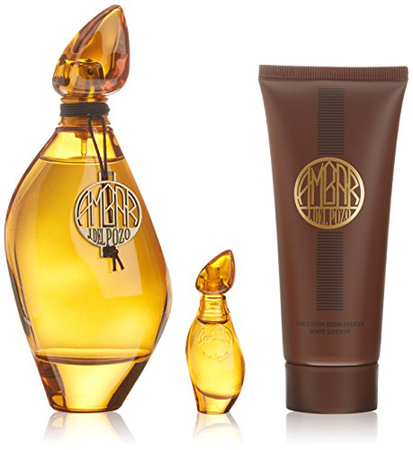Jesus Del Pozo Eau De Toilette Donna 3 pezzi set di ambra (edt 100 ml + Body Lotionl 100 ml + Edt 4 ml)