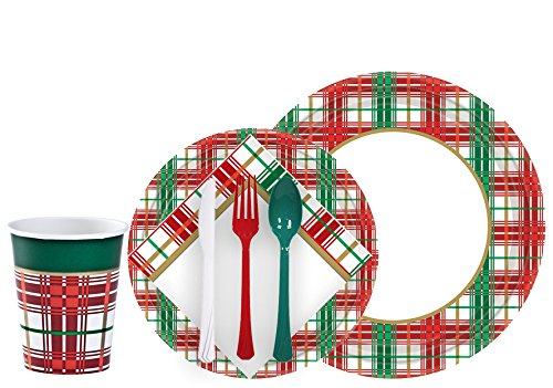 Tiger Chef Christmas Plaid Dinnerware Party Supplies Set for 24, Includes Paper Plates Holiday, 9-ounce Paper Cups, Paper Napkins Christmas, Disposable Cutlery, Complete Christmas Party Supplies (Decorative Plastic Ware compare prices)