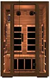 JNH Lifestyles Freedom 2 Person Canadian Western Red Cedar Wood Far Infrared Sauna, 7 Carbon Fiber Heaters, 5 Year Warranty