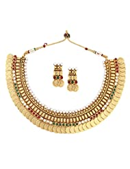 The Jewelbox Gold Plated Pearl Red Green Intricate Necklace Earring Temple Set