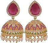 Violet & Purple Gold Plated Jhumki Earrings For Women (1000030684)