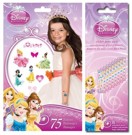 Disney Princess Party Favor Pack for 8 Stickers and Tattoos! - 1
