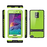 Samsung galaxy Note 4 IP-68 Untra Kick-stand Waterproof Case Cover ,Nika shop Swimming Diving New Full Body Crystal 6.6 Ft Underwater Attached Screen Protector Waterproof Water Resistant Heavy Duty Slim Case Cover for Samsung galaxy Note 4 Phone, Rugged Hard Armor Underwater Durable Full Body Sealed Protection Skin Pouch dirtproof dustproof Snowproof Sweatproof Shockproof Hard Armor Protective Heavy Duty Defender Built-in Screen Protector Rugged Cover Case for Samsung galaxy Note 4 +Free Screen Protect + Hand Strap - Retail Packaging(Nika shop-Green)