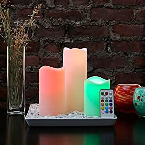 Set of 3 Round Edge Color Changing LED Flameless Candles with Remote