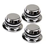 Beyond Guitar Metal Top Hat Tone Tuning Knobs for Fender Gibson Electric Guitar Jazz Bass LP ST Chrome Pack of 3
