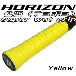 【HORIZON】凸凹 デコボコ 手が滑らない スーパーウェット グリップテープ イエロー 8個セット