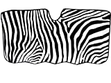 Jumbo Size Folding Sun Shade - Safari Animal Series Zebra Black and White