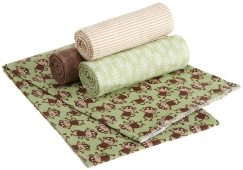 Carter's 4 Pack Wrap Me Up Receiving Blanket, Monkey (Discontinued by Manufacturer)