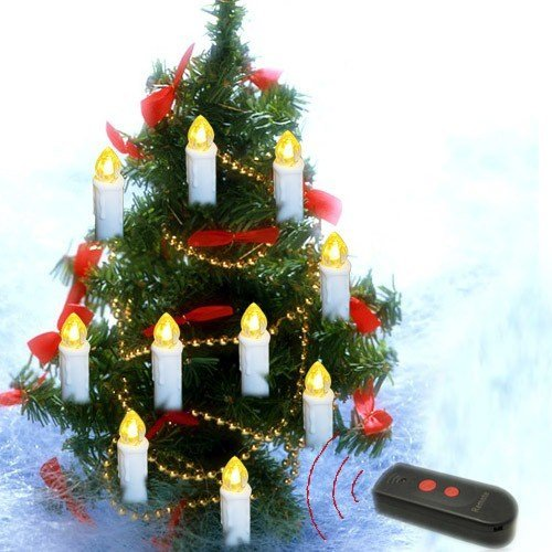 10-In-1 Wireless Remote Control Environmental Friendly, Energy-Saving Led Candle Lights For Christmas Tree,Battery Operated With Long Standby Time, Flameless / Smokeless