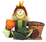 Fall/halloween Decoration 12in. Sitting Scarecrow W/4.5x4in.basket