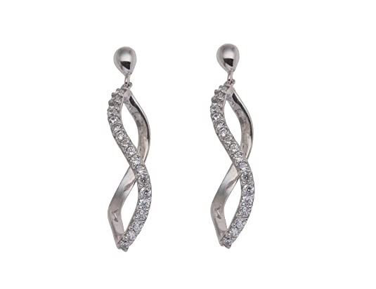 Adara 9 ct White Gold Cubic Zirconia Figure Eight Drop Earrings