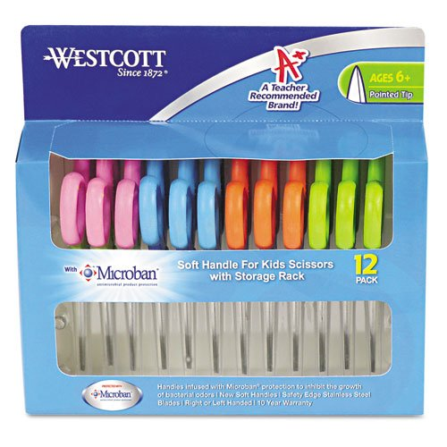 """Westcott - Kids Soft Handle Scissors With Antimicrobial Protection, 12/Pack, 5"""" Ptd 14874 (Dmi Pk front-60998"""