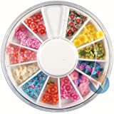 12 Colors Beautiful Flowers Designs Nail Art Polymer Decal Slices In Wheel Ready To Use By Winstonia