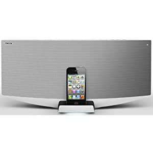 Sony CMTV50 Kompaktanlage (CD, USB, Docking Station für iPod / iPhone / iPad), silber/weiß