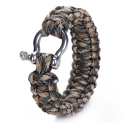 Paracord 550 Survival Bracelet with Stainless Steel Bow Shackle - Desert camo---Ideal Accessory for Camping, Boating, Hunting, Hiking, and Other Sports Activities.