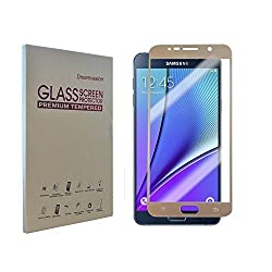 Dreamvasion Tempered Glass Screen Protector for Samsung Galaxy Note5 - Premium 0.3mm 2.5d Rounded Edge 9h Hd Ultra Clear Tempered Glass Screen Protector for Note 5 (Gold)