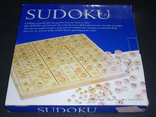 "Wooden SUDOKU Game 09-6167. Set includes beautifully grained playing board 11.5"" x 11.5"" x .75"", 81 game pieces, 81 thinking pieces, Rules with starter puzzles and solutions of varying difficulty. - 1"
