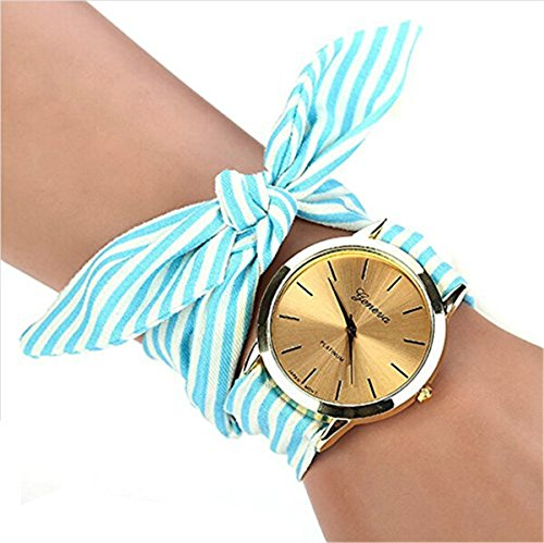 mixe-shop-golden-dial-colorful-chevron-print-cloth-watch-accessory-for-women-ladies-girl-gift-blue