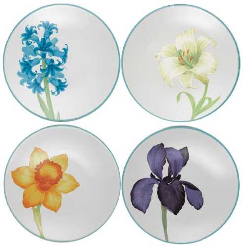Noritake Colorwave Floral Appetizer Plates, Turquoise Blue, Set Of 4