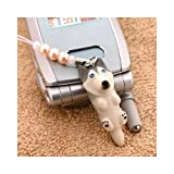 DOG ビーズ携帯ストラップ(シベリアンハスキー/グレー)
