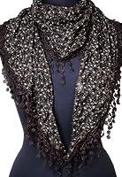 Immerschön Tuch Dreieckstuch mit Blümchen und Spitze Baumwolle Seide Accessory Damen