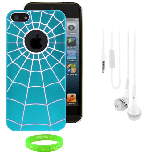 Group Set - Rear Tough Slim Spider Web Art Cover Plate Shell + White Handsfree Earphones W/ Mic For Apple Iphone 5 Lte 4G // Baby Sky Blue & Silver front-460301
