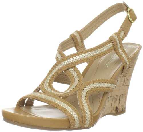 Naturalizer Women's Beanna Wedge Sandal,Sand/Gold,8 M US