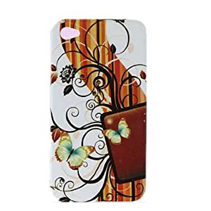Butterfly Flower Pattern Hard Plastic Case for iPhone 4 4G