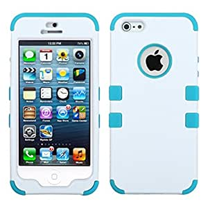 MyBat TUFF Hybrid Phone Protector Cover for iPhone 5s - Retail Packaging - Ivory White/Tropical Teal