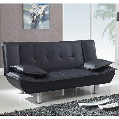 Global Furniture PVC Plastic Sleeper Matching Sofa, Brown/Silver Legs