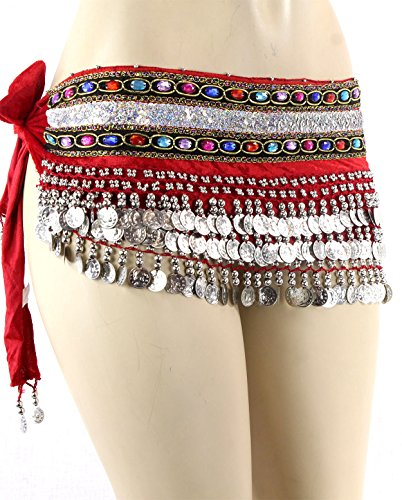 Red Silver Coins Velvet Rave EDC Belly Dance Skirt Hip Scarf Costume 193 coins