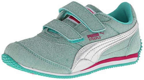 Puma Steeple All Over Glitter V Sneaker (Toddler/Little Kid),Pool Green/Puma Silver,4 M Us Toddler front-1070264