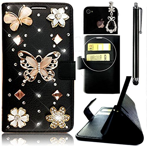 Sunroyal 4 4s 4g Leather Notebook Type Stupendous Function Card Pocket Bling Handmade Diamond Flower Butterfly Pattern Hard Cover with Elegant Gemstone Anti-dust Plug+Touchscreen Pen (4g Gem Plugs compare prices)